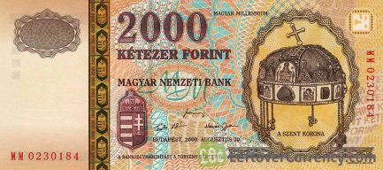 2000 Hungarian Forints banknote - Millennium Crown of St. Stephan obverse accepted for exchange