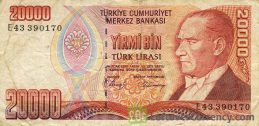 20000 Turkish old lira banknote