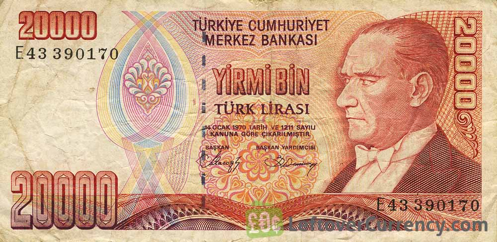 20000 Turkish old lira banknote