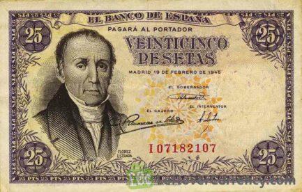25 Spanish Pesetas banknote - Florez Estrada obverse accepted for exchange