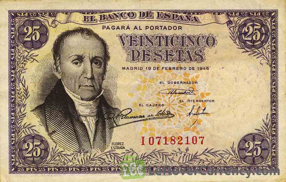 25 Spanish Pesetas banknote - Florez Estrada obverse accepted for exchange