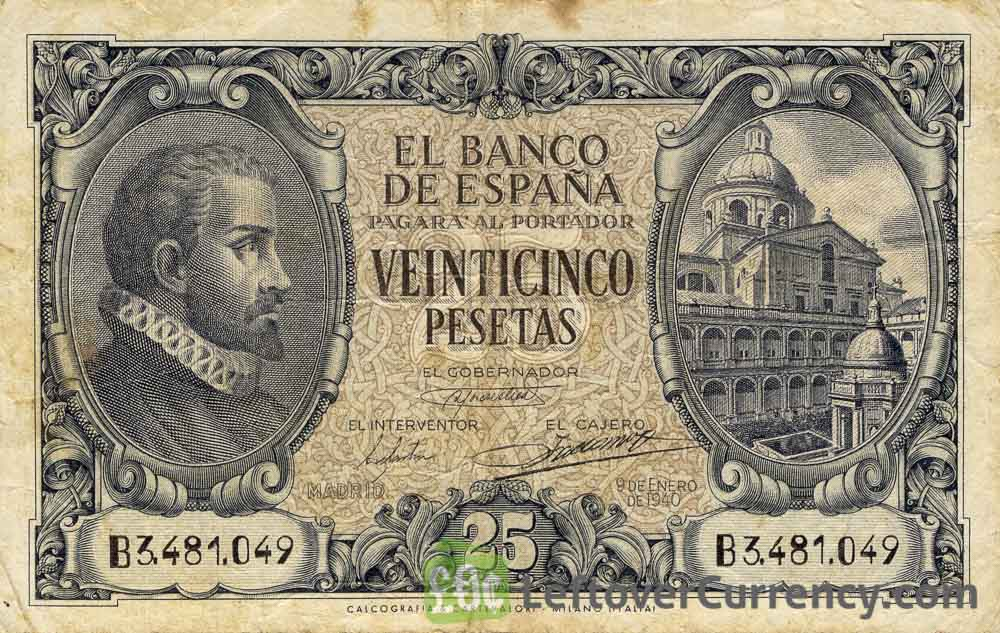 25 Spanish Pesetas banknote - Juan de Herrera obverse accepted for exchange
