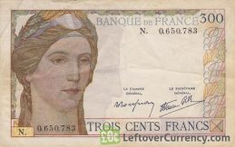300 French Francs banknote (Clement Serveau 1938) obverse accepted for exchange