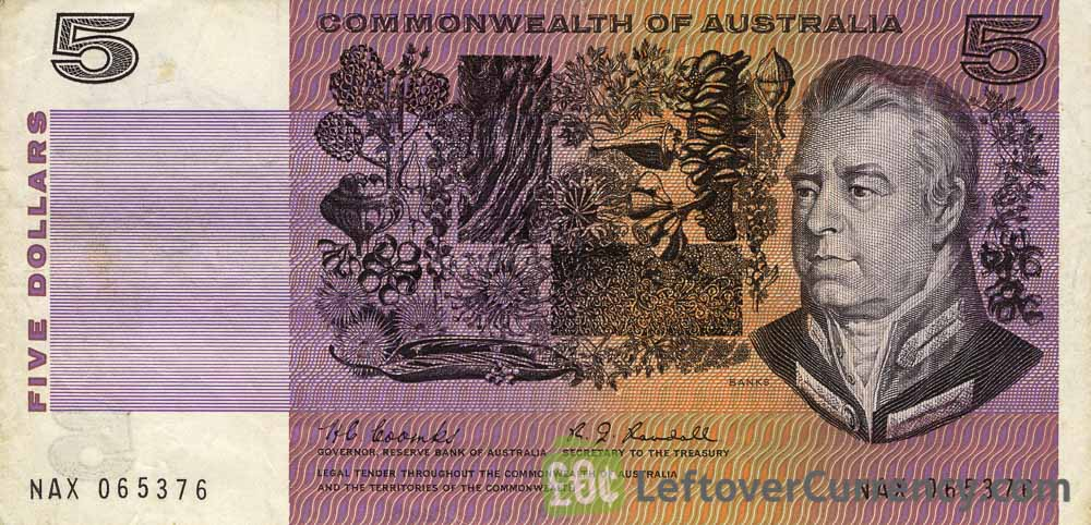 5 Australian Dollars banknote - Commonwealth of Australia obverse accepted for exchange
