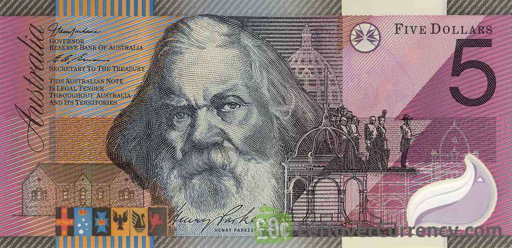 5 Australian Dollars banknote - Sir Henry Parkes obverse accepted for exchange