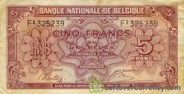 5 Belgian Francs banknote - type Londres obverse accepted for exchange