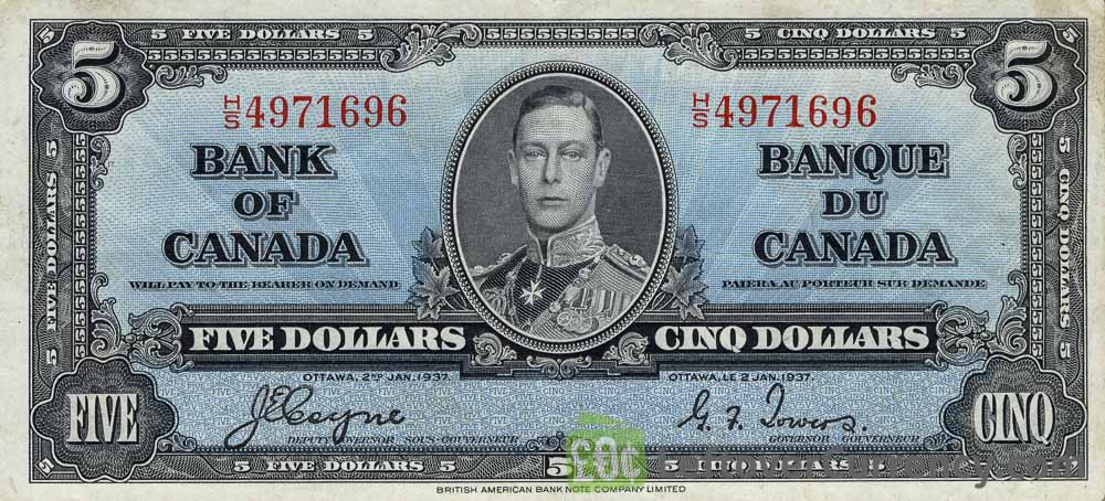 5 Canadian Dollars banknote series 1937 obverse accepted for exchange