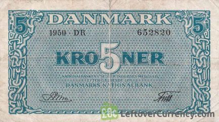 5 Danish Kroner banknote 1944-1946 issue obverse accepted for exchange
