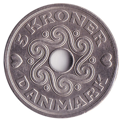 5 Danish kroner coin obverse accepted for exchange