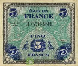 5 French Francs banknote - Allied Military Currency (1944) obverse accepted for exchange