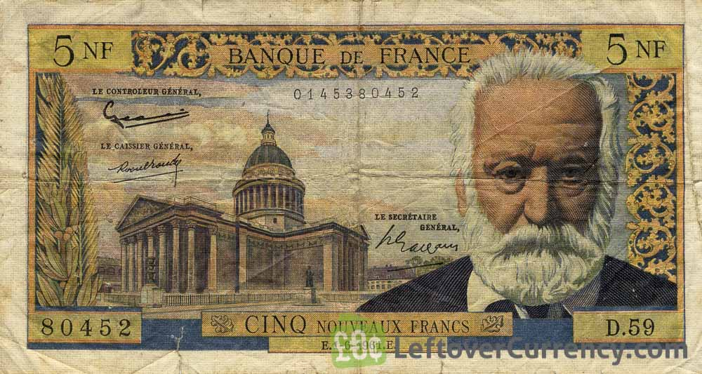 5 French Francs banknote - Victor Hugo obverse accepted for exchange