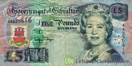 5 Gibraltar Pounds banknote - Tavik Ibn Zeyad obverse accepted for exchange