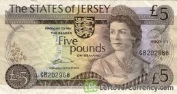 5 Jersey Pounds banknote - Elizabeth Castle obverse accepted for exchange