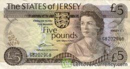 5 Jersey Pounds banknote - Elizabeth Castle obverse accepted for exchange