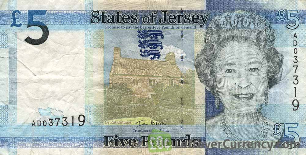 5 Jersey Pounds banknote series 2010 obverse accepted for exchange