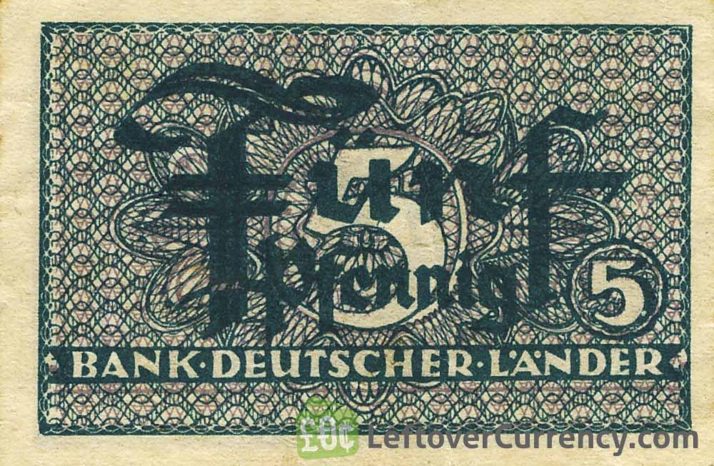 5 Pfennig banknote Germany - Bank Deutcher Länder obverse accepted for exchange