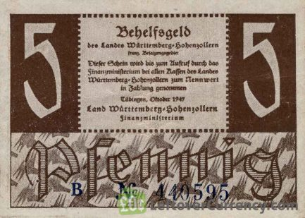 5 Pfennig banknote Germany - Behelfsgeld 1947 obverse accepted for exchange