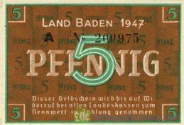 5 Pfennig banknote Germany - Land Baden 1947 obverse accepted for exchange