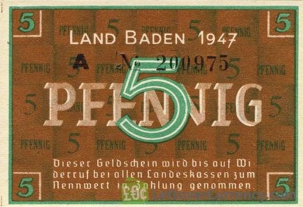 5 Pfennig banknote Germany - Land Baden 1947 obverse accepted for exchange