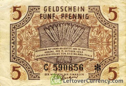 5 Pfennig banknote Germany - Rheinland-Pfalz 1947 obverse accepted for exchange
