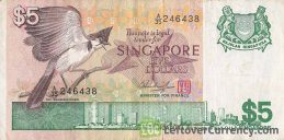5 Singapore Dollars banknote - Bird series obverse accepted for exchange