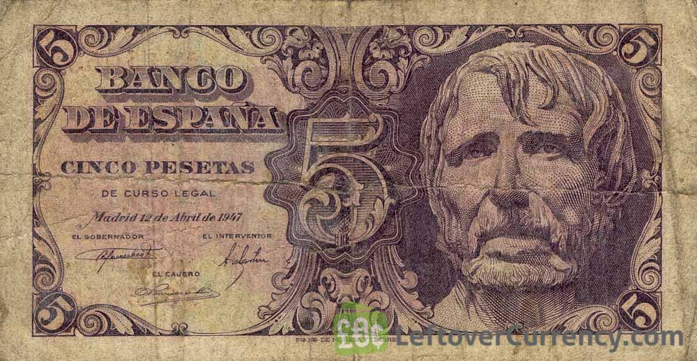 5 Spanish Pesetas banknote - Lucius Annaeus Seneca obverse accepted for exchange