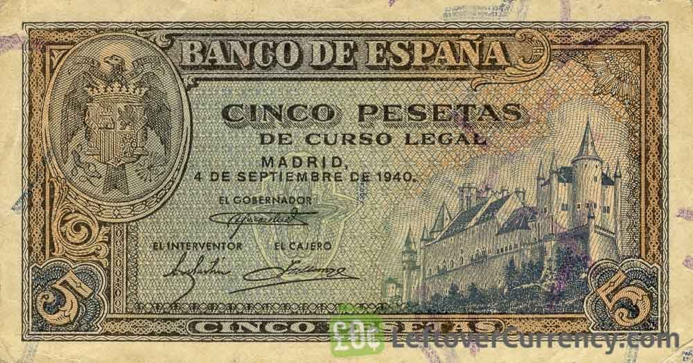 5 Spanish Pesetas banknote - Palace of Segovia obverse accepted for exchange