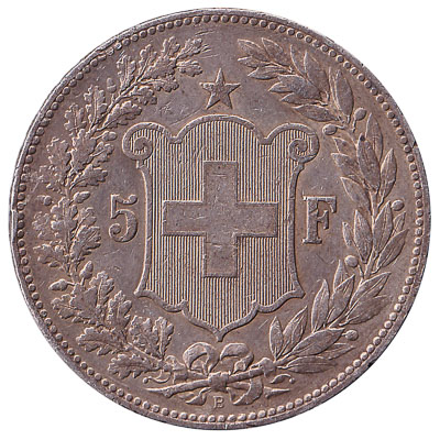 5 Swiss Francs coin shield
