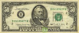 50 American Dollars banknote series 1963 obverse accepted for exchange