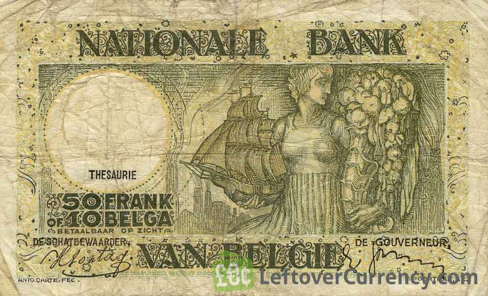 50 Belgian Francs Treasury banknote - Anto-Carte reverse accepted for exchange