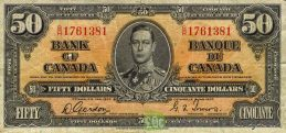 50 Canadian Dollars banknote series 1937 obverse accepted for exchange