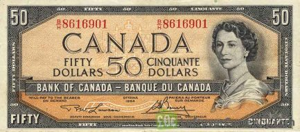 50 Canadian Dollars banknote series 1954 obverse accepted for exchange