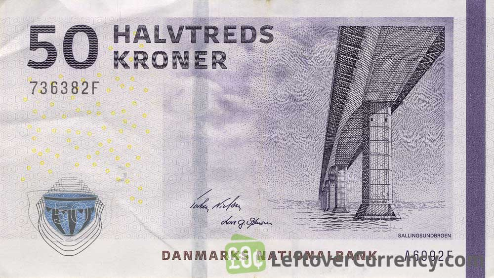 50 Danish Kroner banknote - Bridges of Denmark series obverse accepted for exchange
