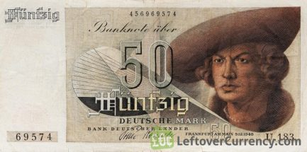 50 Deutsche Marks banknote type Kaufmann (Bank Deutcher Länder) accepted for exchange