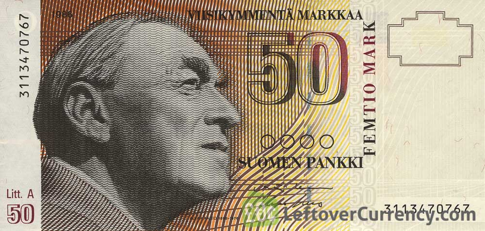 50 Finnish Markkaa banknote - Alvar Aalto obverse accepted for exchange
