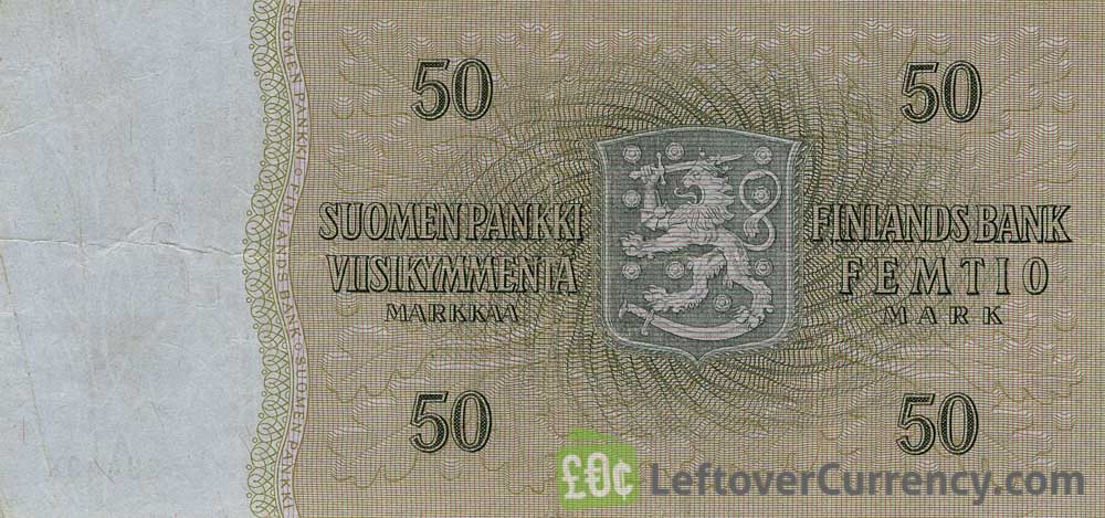 50 Finnish Markkaa banknote - Kaarlo Juho Stahlberg (1963) accepted for exchange