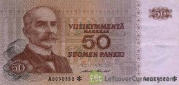 50 Finnish Markkaa banknote - Kaarlo Juho Stahlberg (1977) obverse accepted for exchange