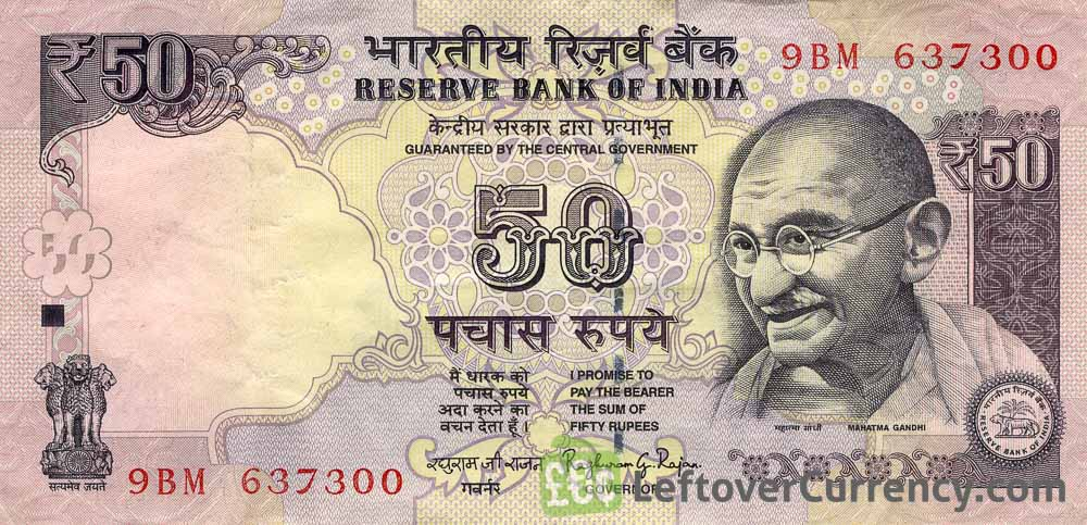 50 Indian Rupees banknote with date