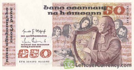 50 Irish Pounds banknote - Turlough O'Carolan obverse accepted for exchange