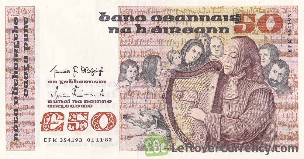 50 Irish Pounds banknote - Turlough O'Carolan obverse accepted for exchange