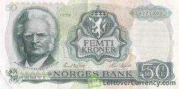 50 Norwegian Kroner banknote (Bjørnstjerne Björnson) obverse accepted for exchange
