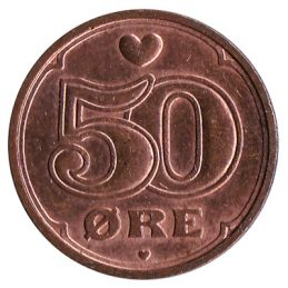 50 ore coin Denmark obverse accepted for exchange