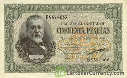 50 Spanish Pesetas banknote - Marcelino Menendez obverse accepted for exchange