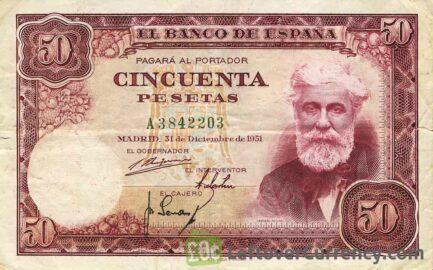 50 Spanish Pesetas banknote - Santiago Rusinol obverse accepted for exchange