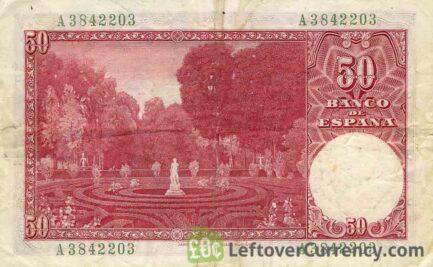 50 Spanish Pesetas banknote - Santiago Rusinol reverse accepted for exchange