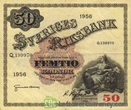 50 Swedish Kronor banknote - Svea obverse accepted for exchange