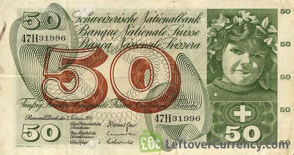 50 Swiss Francs banknote - 5th Series obverse accepted for exchange