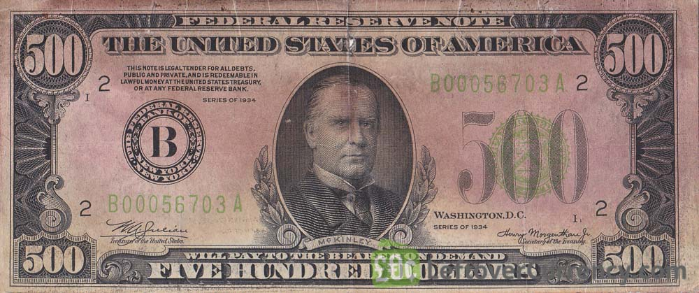 500 American Dollars banknote obverse accepted for exchange