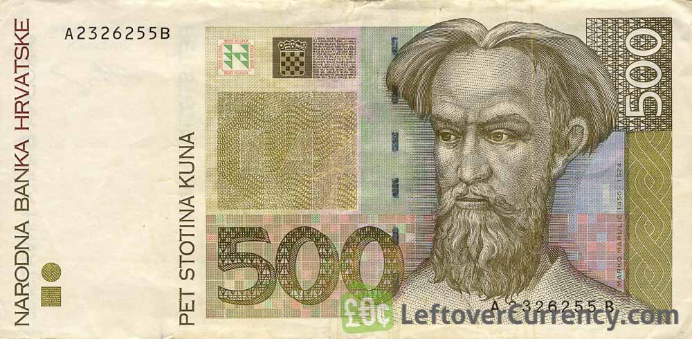 500 Croatian Kuna banknote - Marko Marulic obverse accepted for exchange