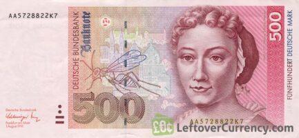 500 Deutsche Marks banknote - Maria Sibylla obverse accepted for exchange